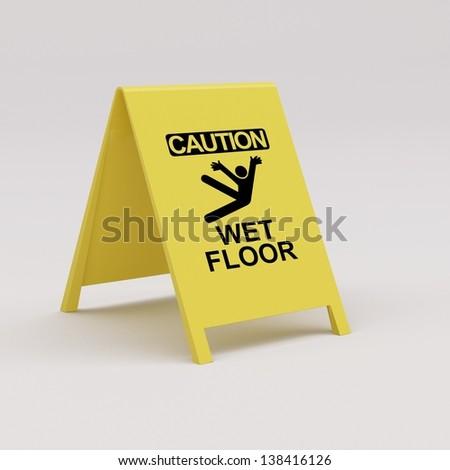 Wet floor panel - stock photo