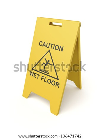 Wet floor sign on white background - stock photo