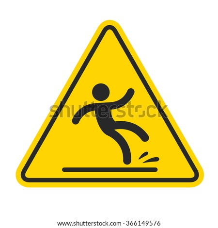 Wet Floor sign, yellow triangle with falling man in modern rounded style. Isolated vector illustration. - stock photo