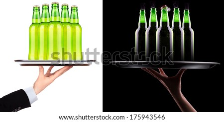 wet fresh beer isolated on black and white - stock photo