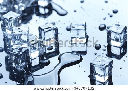wet ice cubes - stock photo