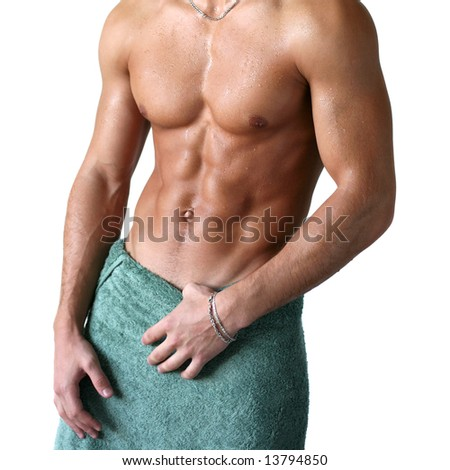 Wet muscular torso wrapped in the towel isolated on white - stock photo