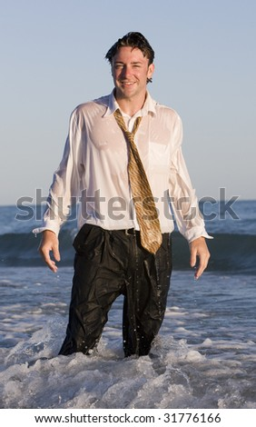 Wet on the Job - stock photo