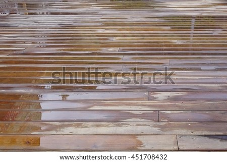 Wet Patio Flooring Background After Rain In Perspective Top View