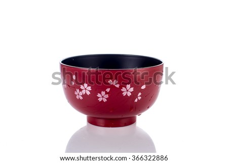 Wet red Japanese style  bowl soup isolated on white background - stock photo