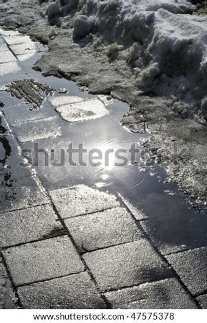 Wet spring asphalt road - stock photo