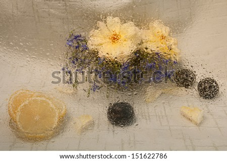 wet still life with lemon yellow roses and blue gypsophila and plum thorough wet glass - stock photo