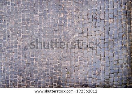 wet tiles, stone pavement - stock photo