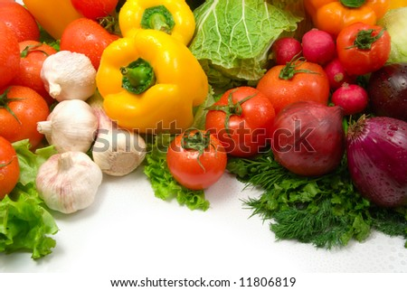 wet vegetables isolated on white background