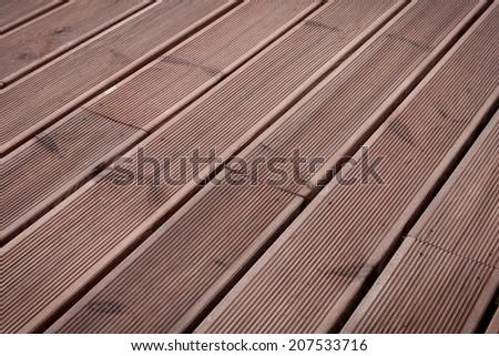 wet wood terrace floor background texture - stock photo