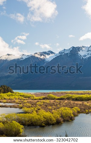 Wetland swamp in glacial Rees Dart river valley in Glenorchy, New Zealand - stock photo
