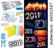 Wew year's labels, icons, tags and stamps - stock photo