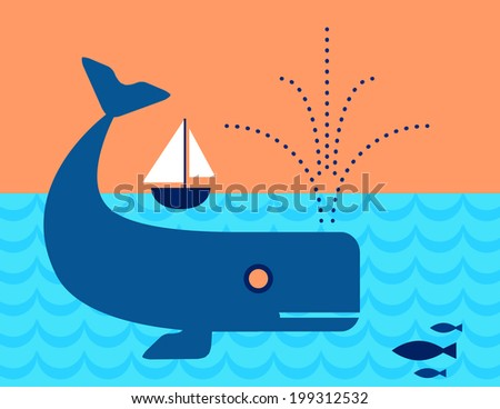 Whale in the ocean swimming under a Sailboat - stock photo