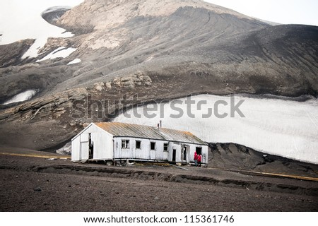 Whaling' station in Deception island, Antarctica - stock photo