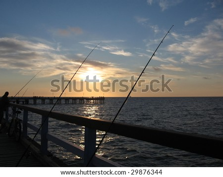 Wharf with Fishing Rods in Palanga, Lithuania