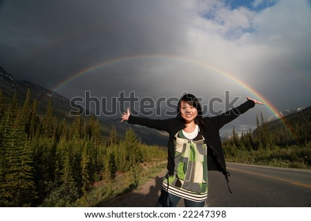 What a rainbow! - stock photo