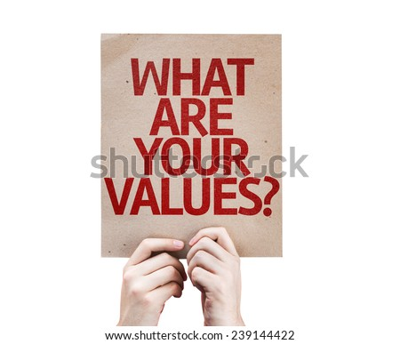 What Are Your Values? card isolated on white background - stock photo