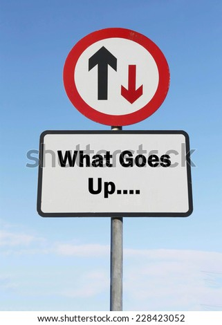 What goes up......, humorous arrow road sign