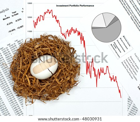 What Happened to Your Nest Egg?  Investment Performance Charts and Broken Egg with Bandage in Nest - stock photo
