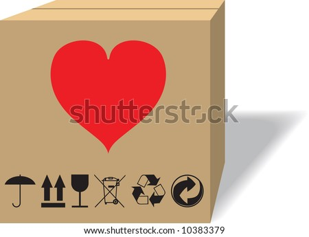 What in a cardboard box? Raster illustration. Isolated on a white background. - stock photo