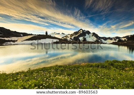Whatcom Peak and Mt. Challenger - stock photo
