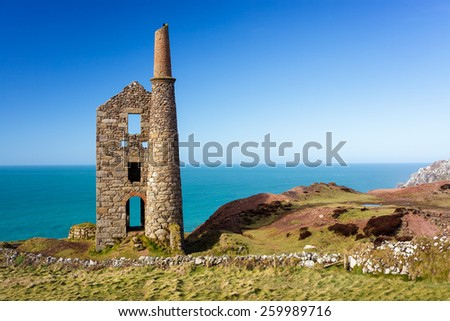 Wheal Owles mine on the cliffs near Botallack Cornwall England UK Europe - stock photo