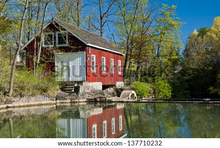 Wheat and barley mill from turn of the century,restored and functional - stock photo