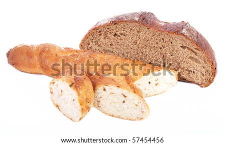 Wheat and rye bread - stock photo