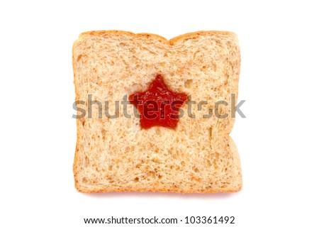Wheat Bread Slice with star Isolated on White