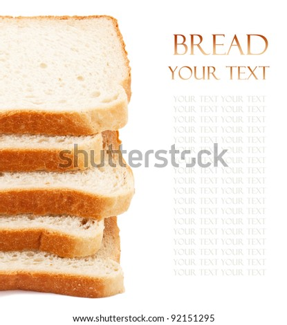 Wheat bread slices on white background