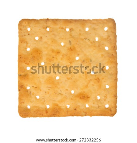 Wheat cracker. A single piece wholemeal oat biscuit isolated on white background. - stock photo
