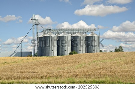Wheat Field and Silo - stock photo