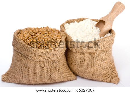Wheat grain and flour in small burlap sacks - stock photo