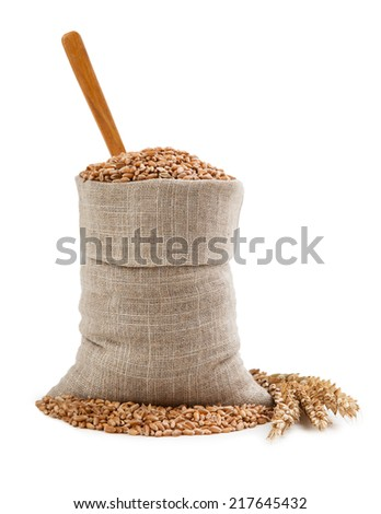 Wheat grains in a bag - stock photo