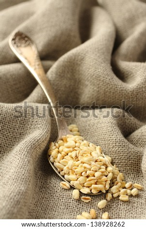 Wheat grains in metal spoon on sackcloth background - stock photo