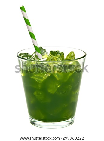 Wheat grass juice with clipping path isolated on white background - stock photo