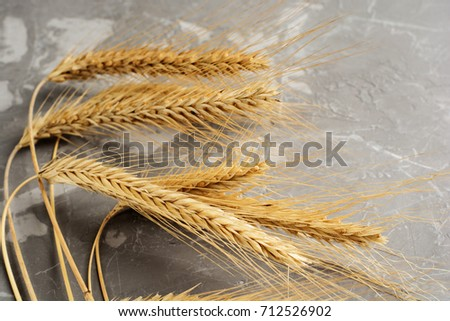 wheat on the wood background close up