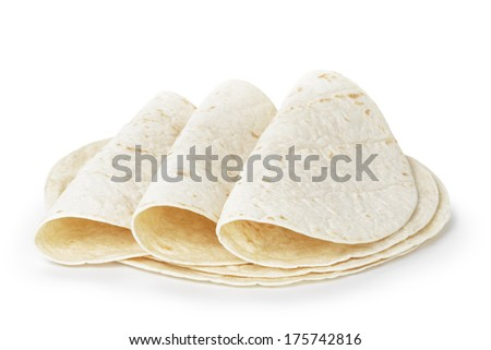 wheat round tortillas, isolated on white background - stock photo
