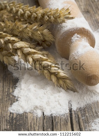 wheat with flour - stock photo