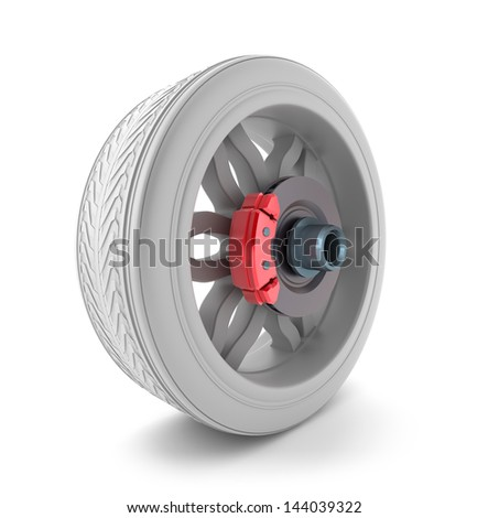 Wheel and brake pads - stock photo