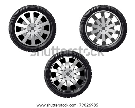 Wheel and tire set isolated on white for transport or service design. Vector version also available in gallery