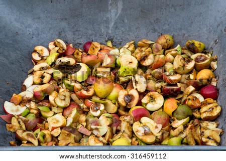 Wheel barrow full of chopped discarded apples used to make pressed apple juice - stock photo