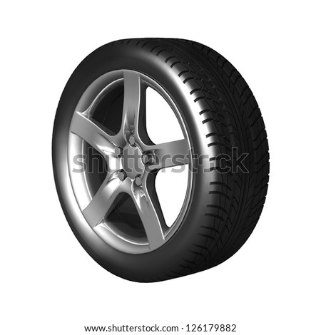 Wheel car isolated on white. 3d real illustration.