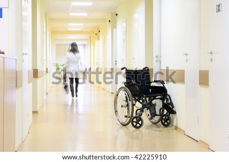 Wheel chair at the hospital. - stock photo