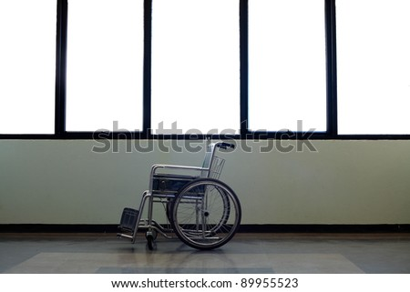 wheel chair in hospital - stock photo