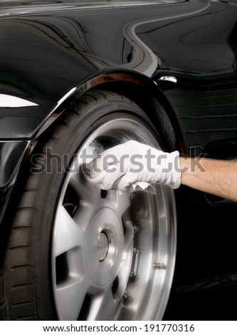 wheel cleaning - stock photo