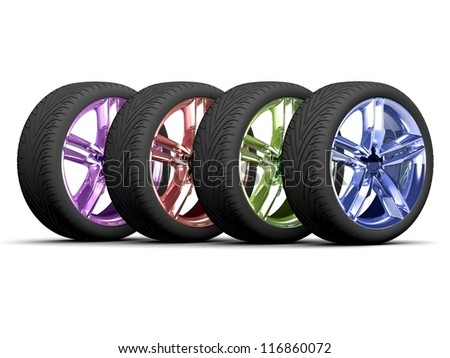 Wheel colorful isolated on white. 3d illustration. - stock photo
