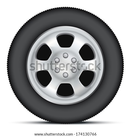 Wheel disk of car. Chrome metal and tires. Illustration, premium design. Isolated on background.