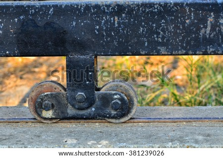 Wheel gate on green nature background