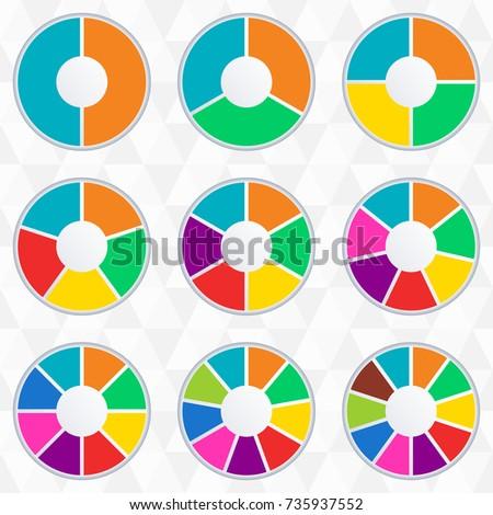 Wheel Infographics Template Pie Chart Set Stock Illustration ...